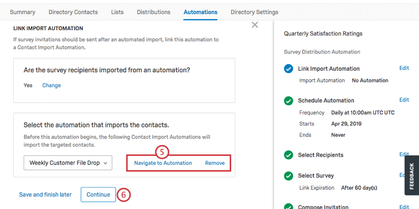 contact automation added. option to view or remove