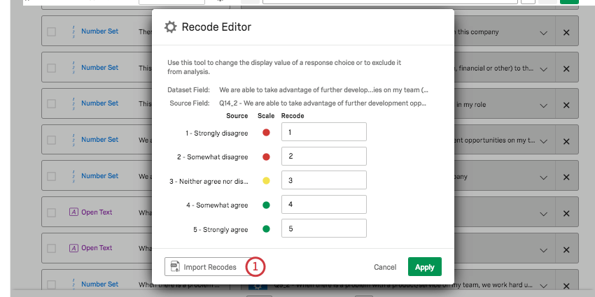 Import Recodes button on lower-left
