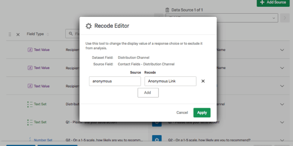Recode Editor where there are open-ended fields on the source and recode columns