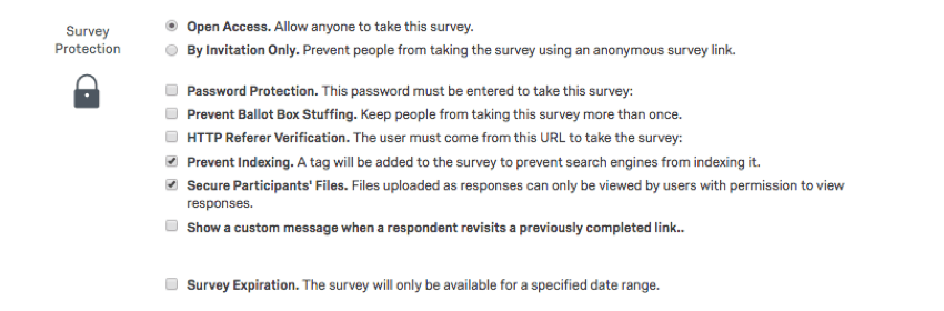 List of options in survey protection
