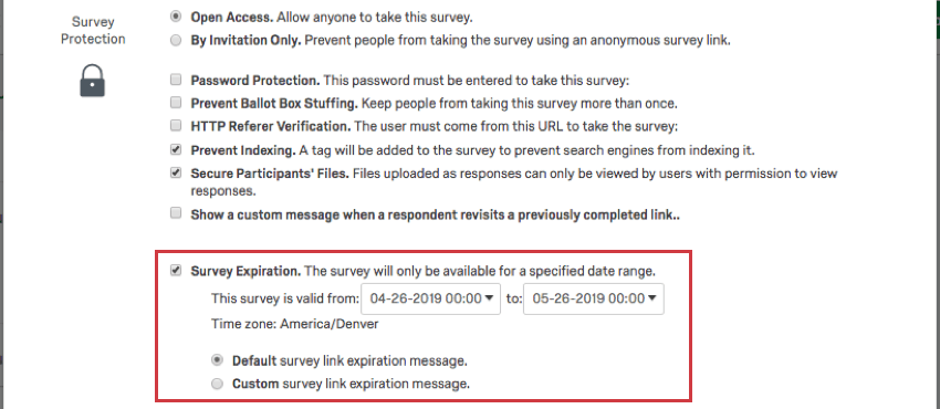 When selected, Survey Expiration reveals fields for selecting dates