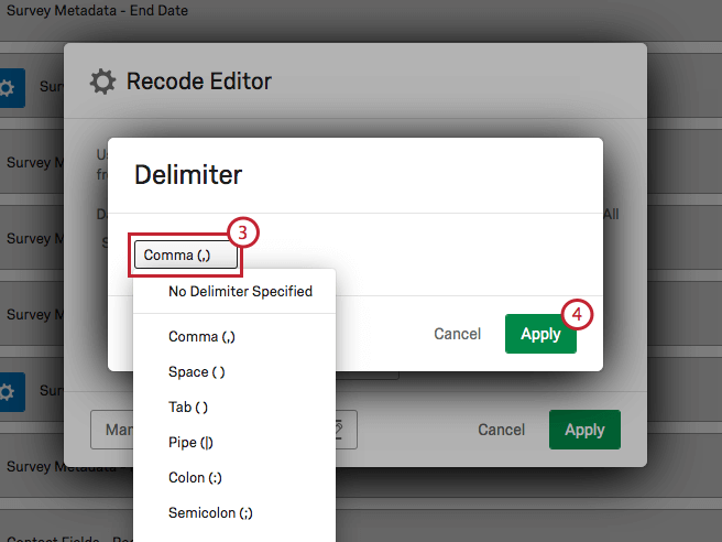 Image showing how to change the selected delimiter
