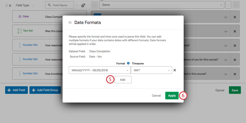 Button below dropdown for Add, save in green bottom-right