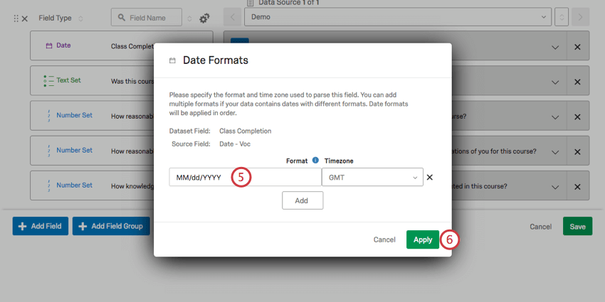 Field can now be typed in to set format