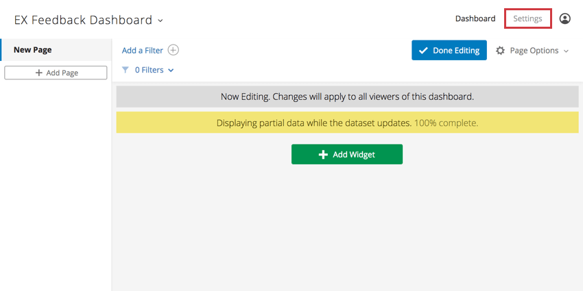 Settings option in the header