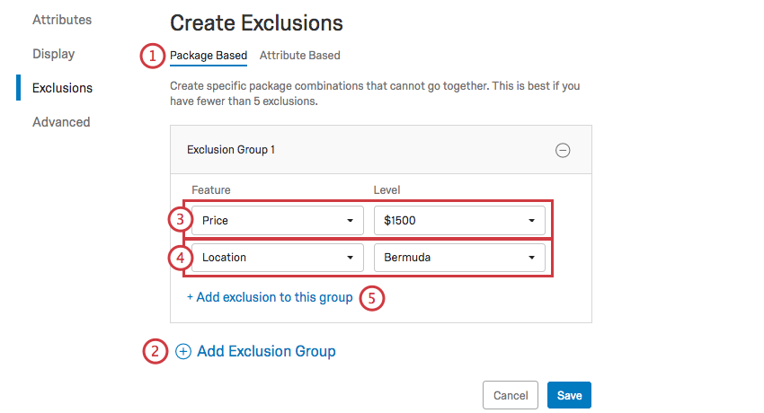 Setting up Package Exclusions using a series of dropdowns
