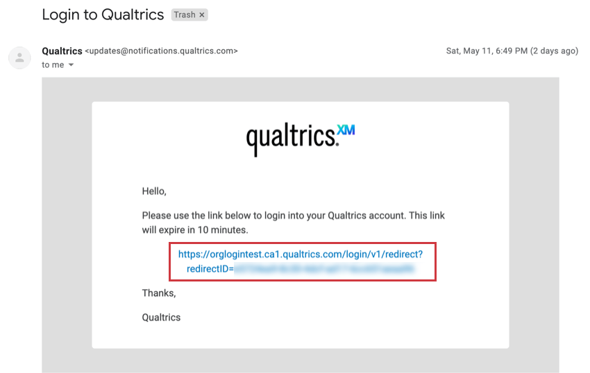 Email from Qualtrics called Login to Qualtrics