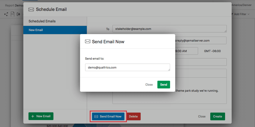 Blue send email now button highlighted in background, window for entering emails has opened over top