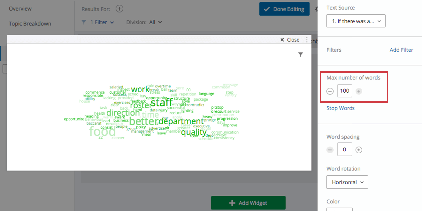 Word Cloud with Max Number of Words setting listed on the right