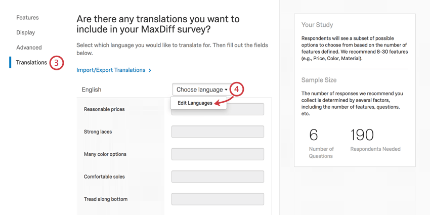 translations selected to the left, list of attributes with fields for entering translations, above that a language dropdown