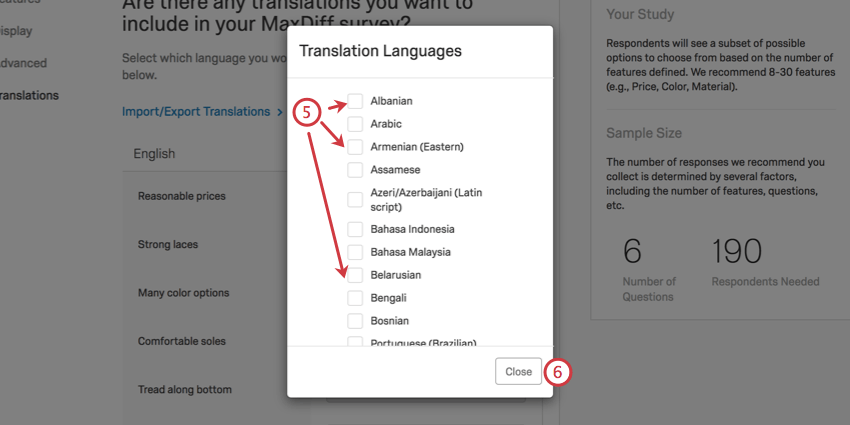 selecting checkboxes next to languages; close button in bottom-right