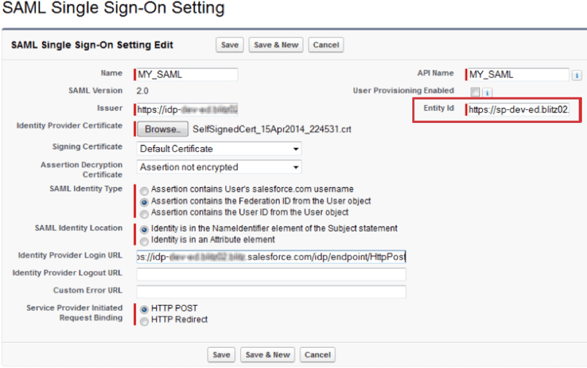 on the saml sso window in salesforce, the entity ID is on the right