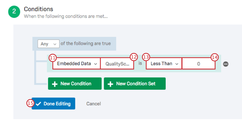 The following dropdown fields and values appear in the condition section