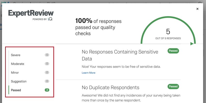 Image of the severity of the flagged issues in ExpertReview