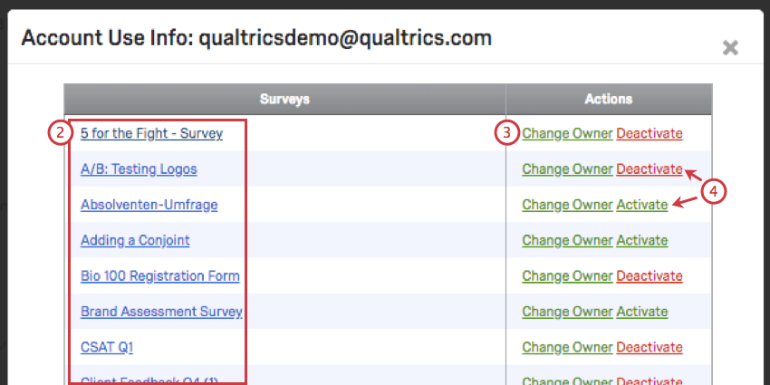 Survey listed in blue to left column. Right column has change own links next to activate/deactive links.