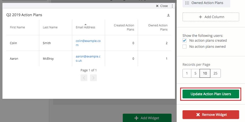 Green update button bottom-right of widget editing pane