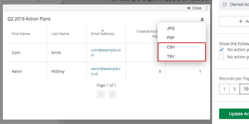 Export button in upper-right of widget looks like a downward arrow, expands a small menu that has CSV and TSV options last and second to last