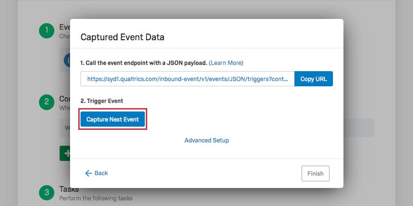 Dark blue capture next event button above where event data is added