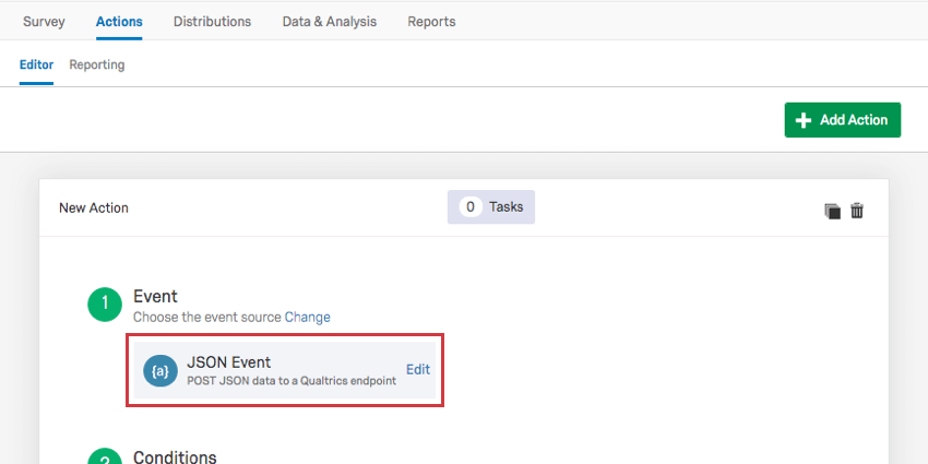 Json Event box at top of action