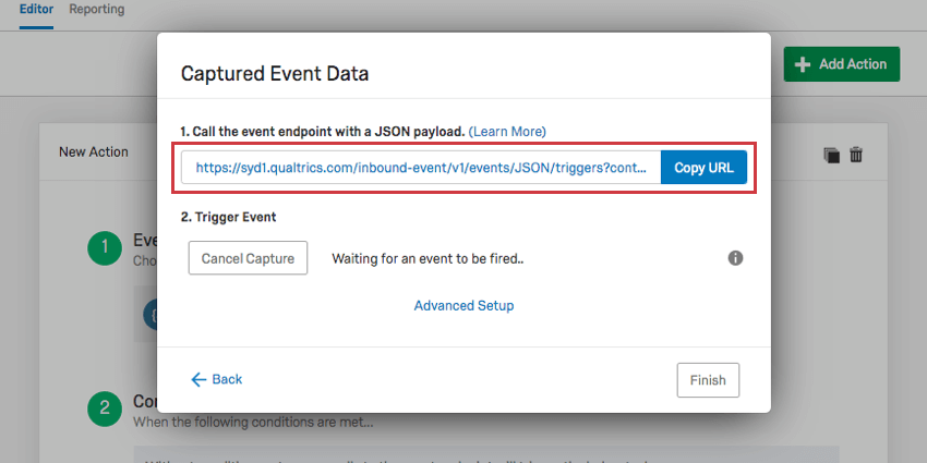 Top of capture event data window that opens is a URL