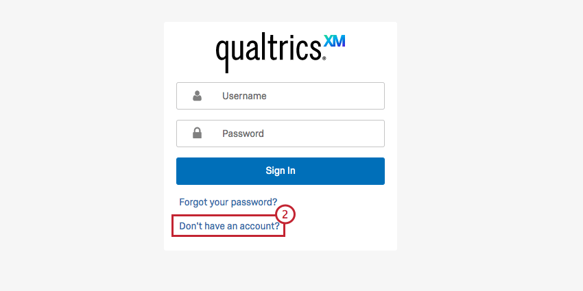 """Image of the branded login screen with the """"dont have an account"""" option highlighted"""
