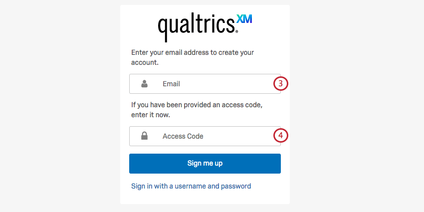 image of the self enrollment screen with email and access code