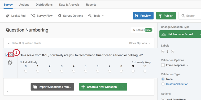 image of the survey editor showing how to select a question number