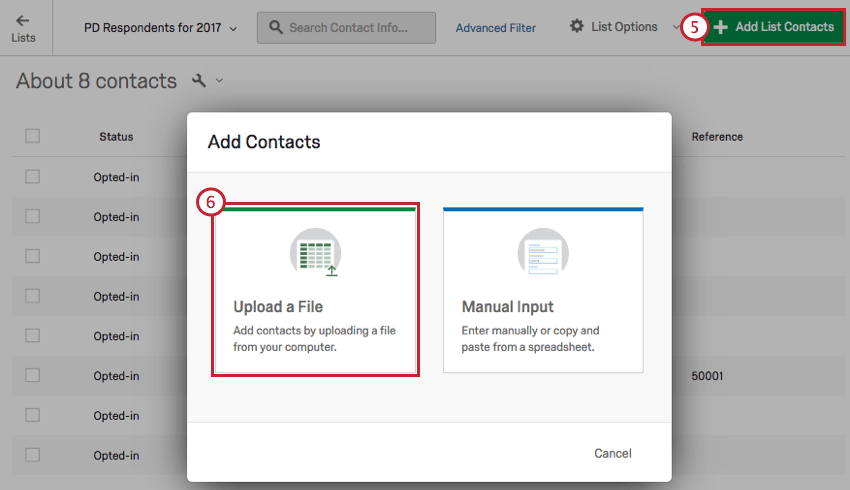 image of the add list contacts button with the upload a file option selected