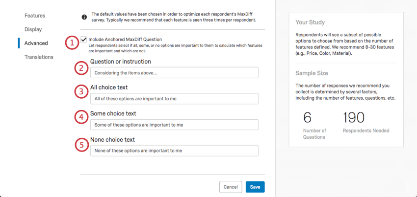 After anchored maxdiff is selected at bottom of advanced page, a bunch of fields appear for you to fill out