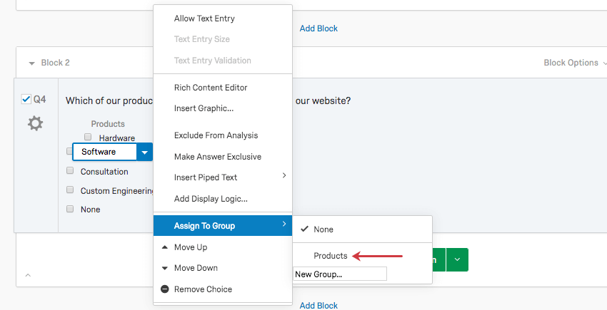 Opening the same series of menus to see Products is now listed as a group, above the field where you can add a new group