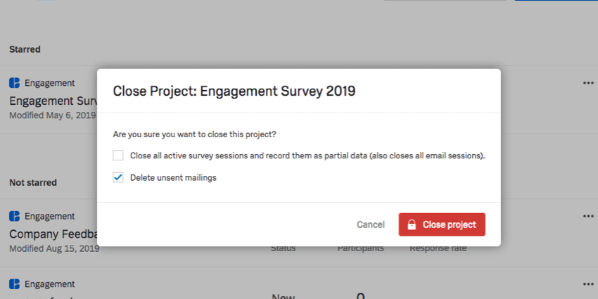 Close Project confirmation window