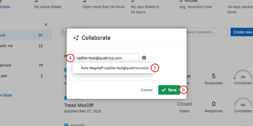 collaborate window with small text field for searching users opens over the page