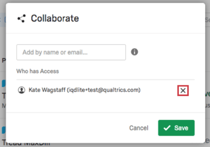 collaborate window with a user selected - gray X to the right of their email address