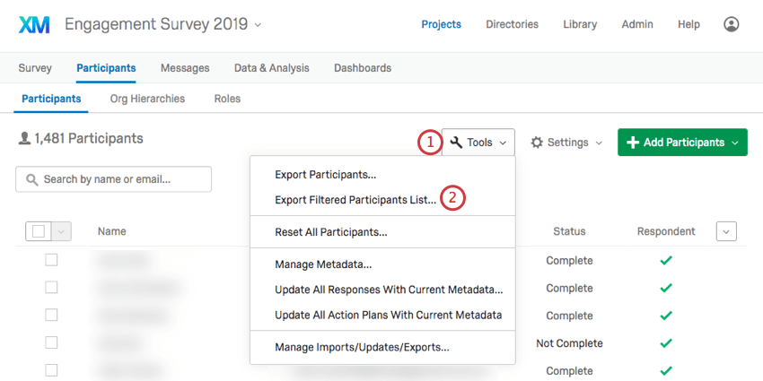 Export filtered participants option from tools menu