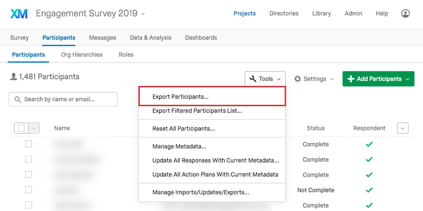 Tools expanded and Export Participants selected