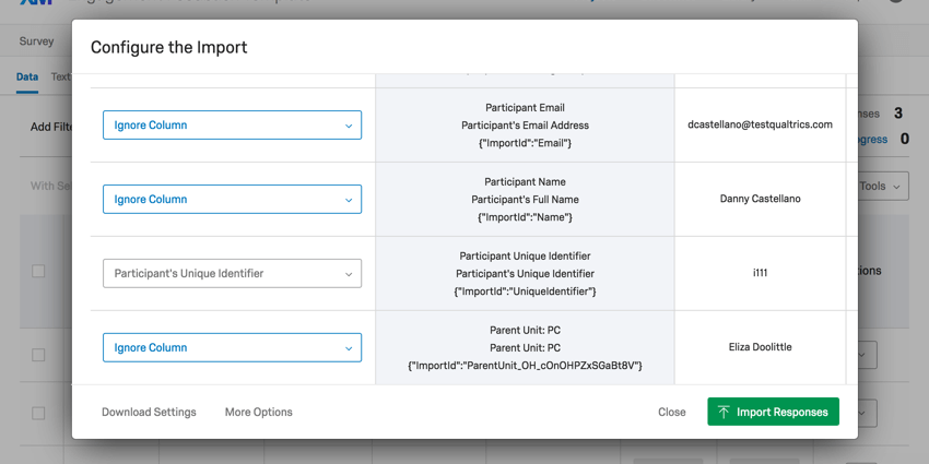 Import responses preview window