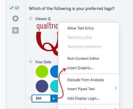 On a choice in a question, the blue dropdown expands a menu, and one of the options is insert graphic