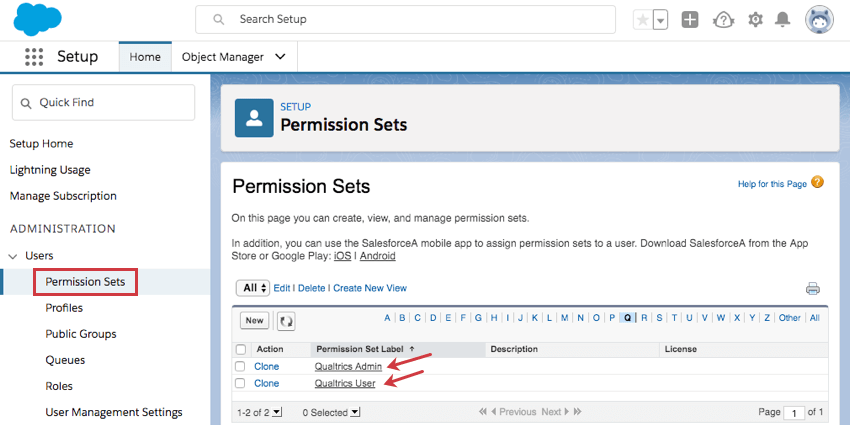 Selecting Permission Sets from the left, then in the list of sets pointing to the names Qualtrics Admin / Qualtrics User