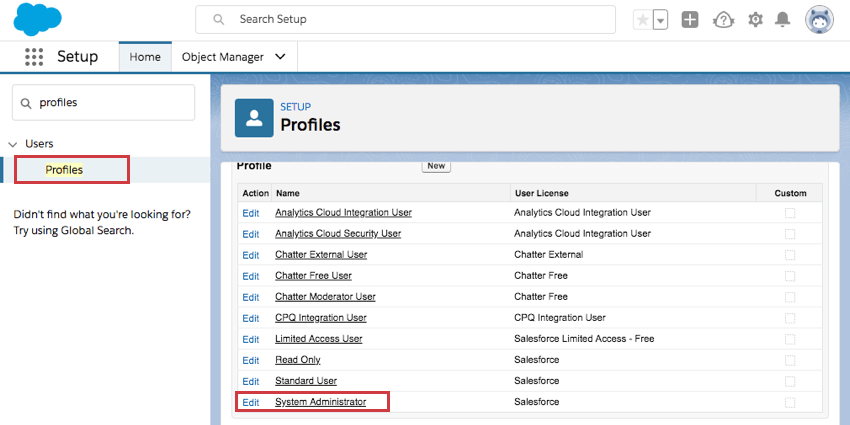 Profiles selected to left, system administrator at bottom of the list highlighted