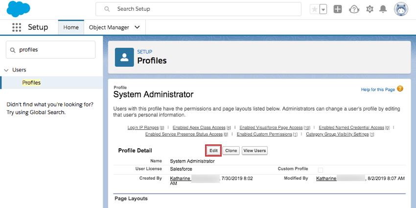 Inside system admin, edit is towards top, near profile detail