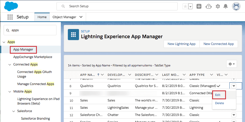App manager selected to left; dropdown arrow to far-right of qualtrics shows an edit option