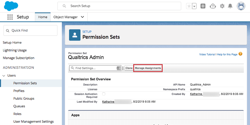 Manage Assignments is next to find setting search box and the clone button