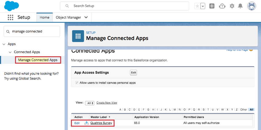 Manage Connected Apps selected to the left, Qualtrics survey in list in center of page with edit right to the left of it