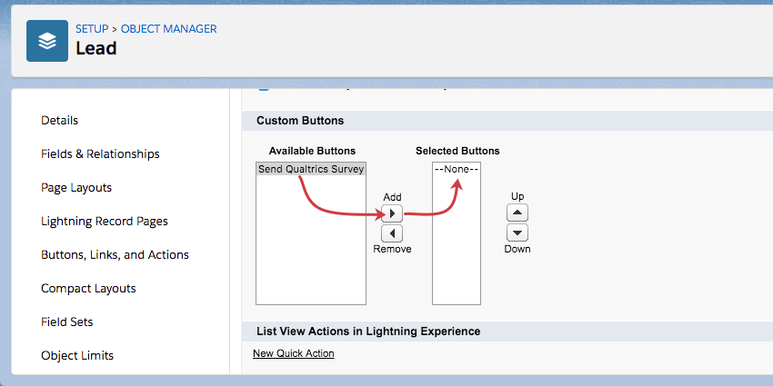 Send Qualtrics Survey in left column, right pointing arrow, then another box named Selected Buttons