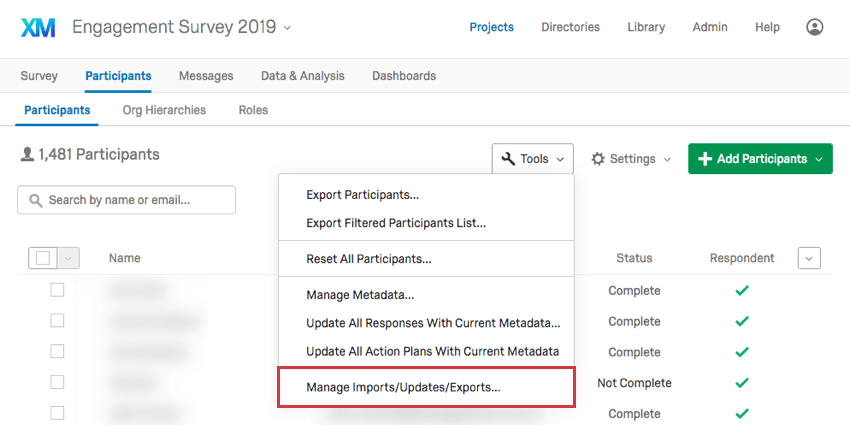 Manage imports updates exports option is last in the tools menu
