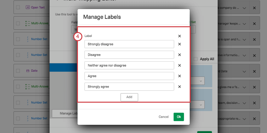 Manage labels window over