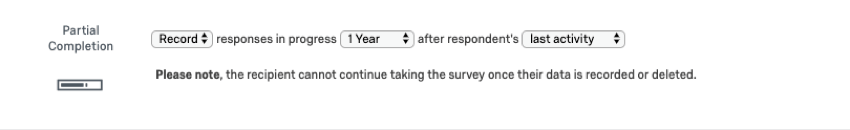 Partial completion settings at end of survey options
