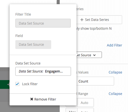 Data set source filter on a widget