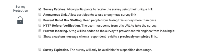 Survey Protection options