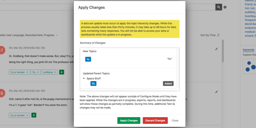 Yellow blurb in the Apply Changes window